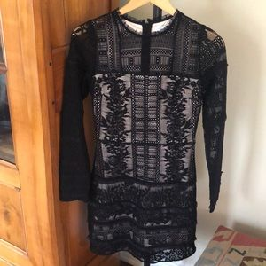 Parker Black long sleeve formal fitted dress xs